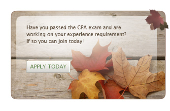 Vermont landscape with mountain view in the background captions says- Have you passed the CPA exam and are working on your experience requirement? If so you can join today!
