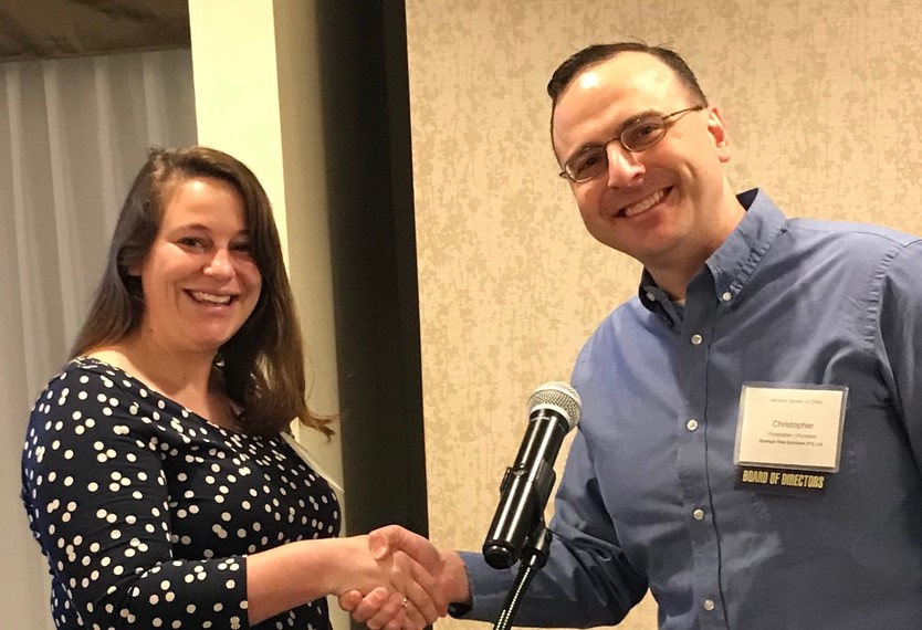 Jenelle Daly, CPA awarded Jay Gordon Memorial Scholarship by 2018-19 VTCPA Chair Christopher Plumpton, CPA